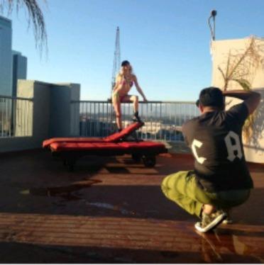 Fancy Swimwear shot by Arman Thanvir in DTLA on a rooftop!